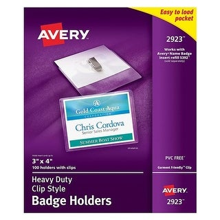 Avery Secure Top Clip-Style Badge Holders Secure Top Clip-Style Badge Holder