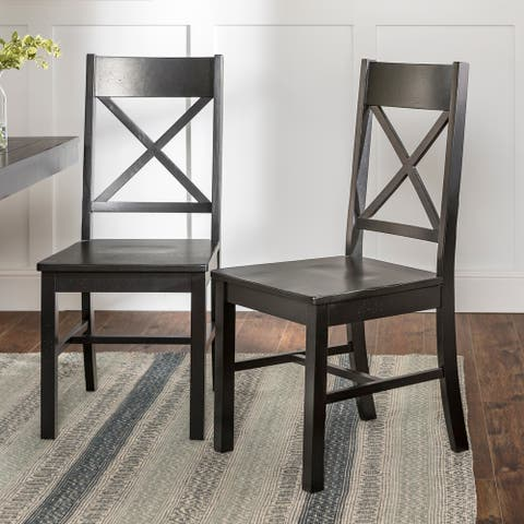 Rustic Antique Black X-Back Dining Side Chairs, set of 2