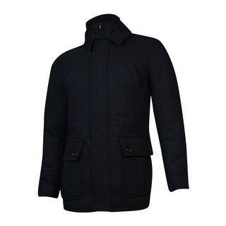 Tasso Elba Men's Wool Blend Zip Button Car Coat (S, Black Combo) - S