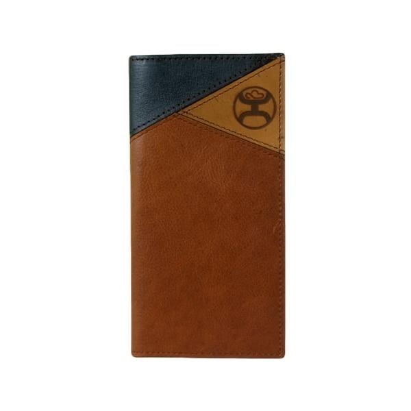 "HOOey Western Wallet Mens Rodeo Signature Burned Logo Brown - 3 1/2"" x 3/4"" x 7"""
