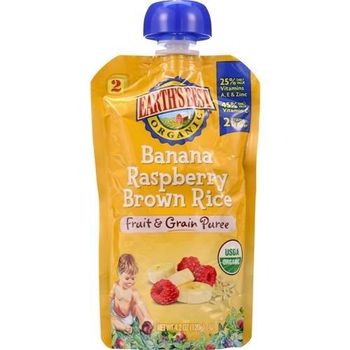 Earth's Best - Organic Banana Raspberry Brown Rice Puree ( 12 - 4.2 OZ)
