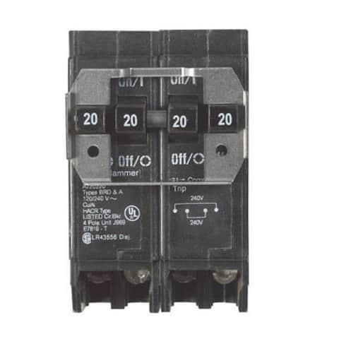 Eaton BQ220220 2-Double Pole Quad Circuit Breaker, 20/20 Amp