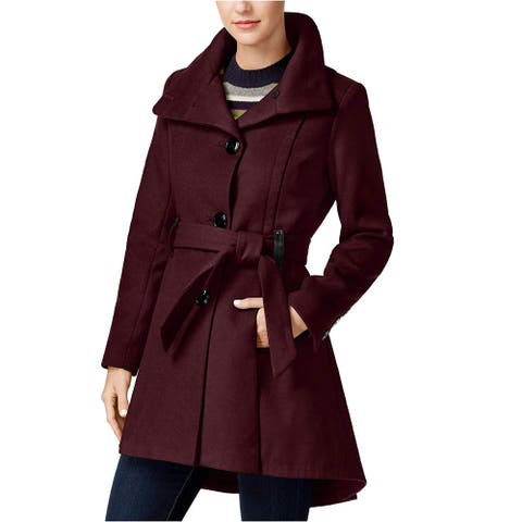 Madden Girl Women Coat Burgundy Purple Size XXL Belted Faux-Leather-Trim