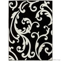 "Black Allstar with White Floral Design Modern Geometric Area Rug (5' 2"" x 7' 2"") - Thumbnail 1"
