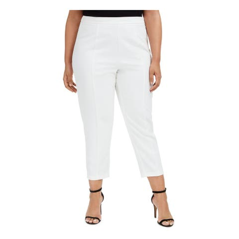 ADRIANNA PAPELL Womens White Solid Straight leg Pants Size 20W