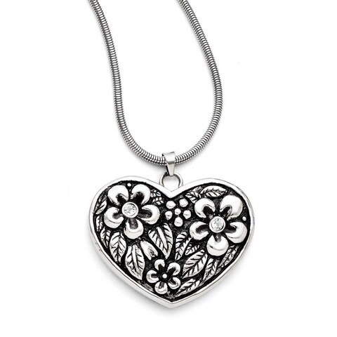 Chisel Stainless Steel CZ Antiqued Heart with 2in ext. Necklace (2 mm) - 29.5 in