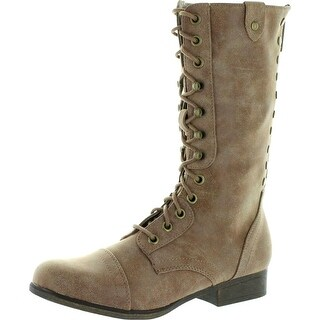 Madden Girl Womens Galeriaa Fold Over Combat Military Boots
