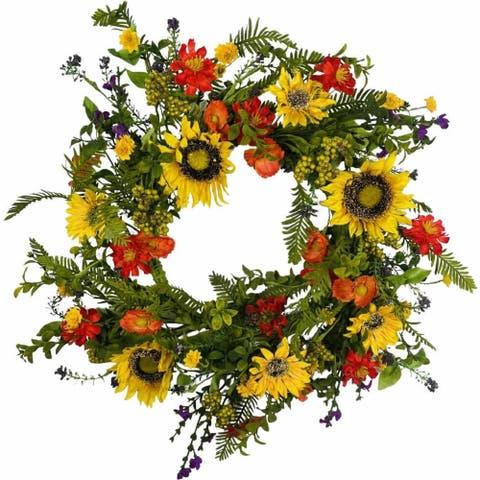 "Sunflower Poppy Deluxe Artificial Wreath 24"""
