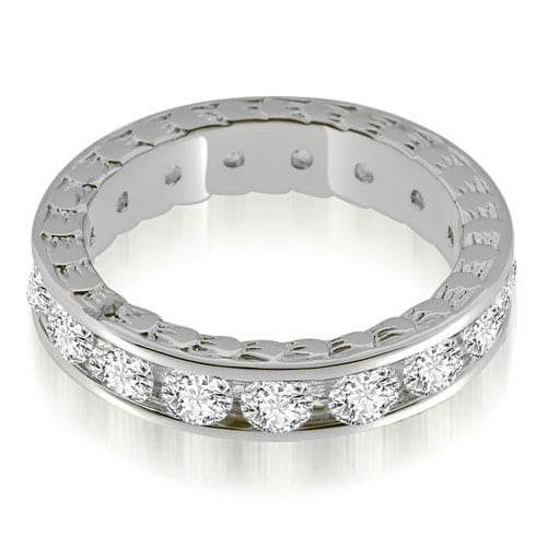 2.55 cttw. 14K White Gold Antique Style Channel Set Round Diamond Eternity Ring