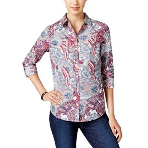 Style & Co. Women's Printed Button-Down Shirt, Multi (14P)