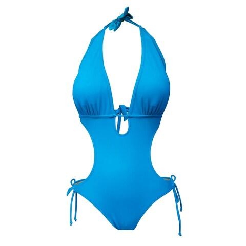 Monokini with Halter Neck Tie & Side String Ties in Corona Blue