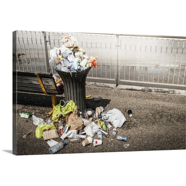 """Trash overflowing from bin"" Canvas Wall Art"