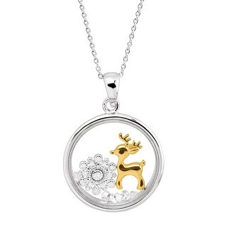 Snowflake & Gold-Plated Reindeer Holiday Shaker Pendant with Crystals in Sterling Silver