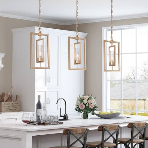 "Modern Gold 1-light Glass Shade Pendant Lights for Kitchen Island Dining/ Living Room - L8.5"" x W5"" x H16"""