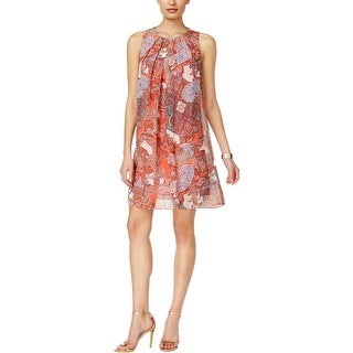 Jessica Howard Womens Petites Casual Dress Chiffon Paisley-Print