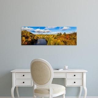 Easy Art Prints Panoramic Image 'Trees in autumn at Dead River, Upper Peninsula, Michigan' Canvas Art