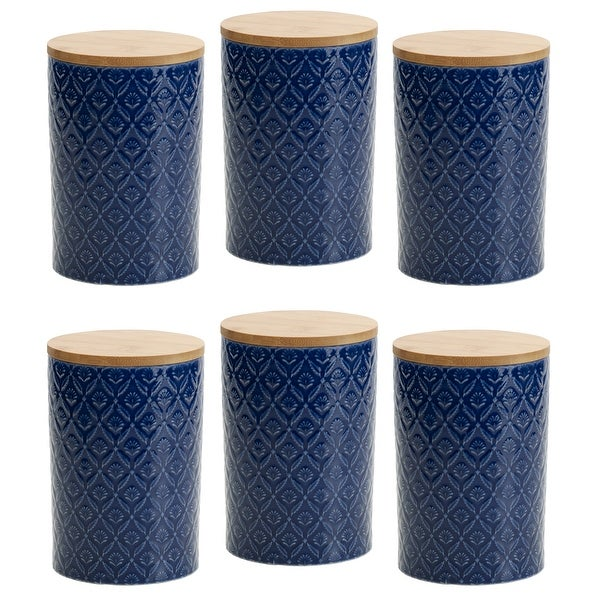 Pfaltzgraff Blue Floral 6.5IN Canister with Bamboo Lid (Set of 6). Opens flyout.