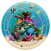 """Pack of 96 Disposable Nautical Under The Sea Dinner Plates 9"""" - Blue"""