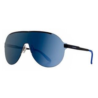 Carrera 92/S FNB 1G Matte Black Blue Mirror Shield Rimless Aviator Sunglasses - MATTE BLACK - 99mm-1mm-135mm