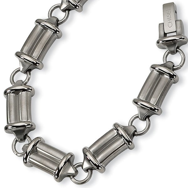 Chisel Brushed and Polished Titanium Bracelet - 9 Inches