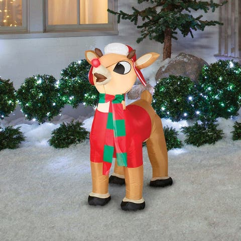 Gemmy 39919 Christmas Airblown Small Rudolph With Winter Clothes Inflatable, Fabric, 24-1