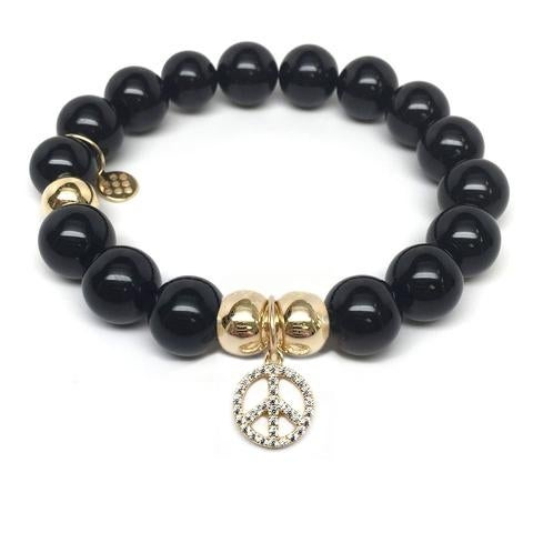 Julieta Jewelry Peace Sign Charm Black Onyx Bracelet
