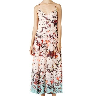 Rachel Rachel Roy NEW Pink Women's 2 Maxi Crinkle Chiffon Floral Dress