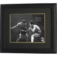 Jake Lamotta signed Vintage BW Boxing 16x20 Photo Custom Framed Raging Bull Insc JSA HOLOGRAM