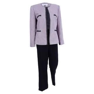 Tahari ASL Women's Chain-Trim Tweed Pantsuit (2, Pink/Black) - Pink/black - 2