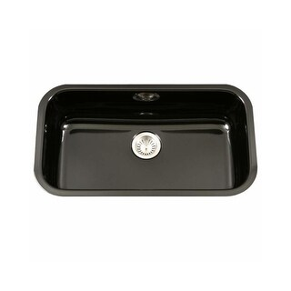 "Houzer PCG-3600 Porcela 30-9/10"" Single Basin Undermount Porcelain Enameled Kitchen Sink with Sound Dampening Technology"