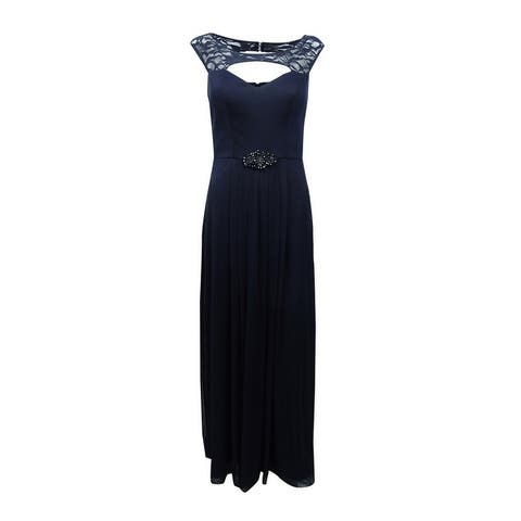 B&A by Betsy & Adam Women's Illusion-Trim Cutout Gown - Navy