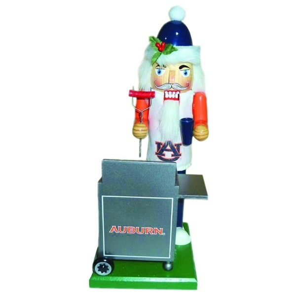 "12"" NCAA Auburn Tigers Sports Tailgating Wooden Christmas Nutcracker - WHITE"