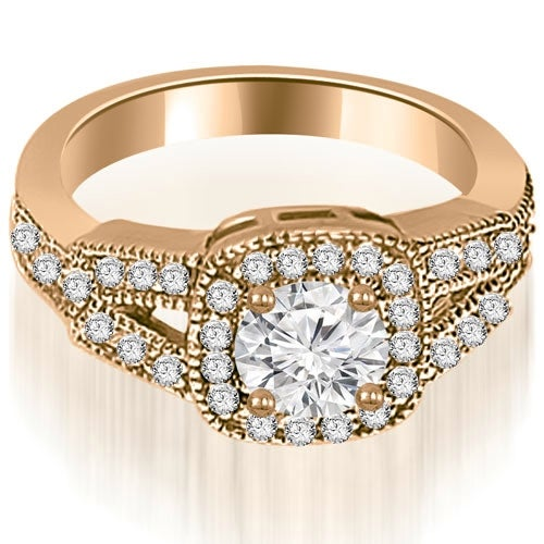 1.35 cttw. 14K Rose Gold Antique Round Cut Diamond Engagement Ring