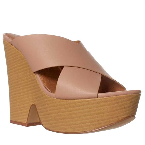 Leila Stone Roza Wedge Sandals - Blush - 8.5