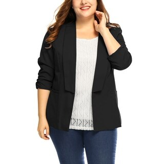 Allegra K Women's Plus Size 3/4 Sleeves Blazer