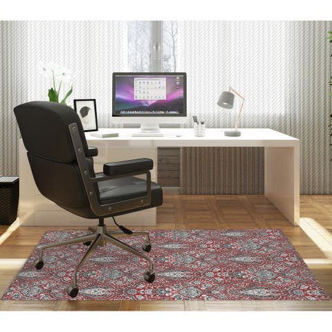 KIRMAN CORAL RED Office Mat By Kavka Designs
