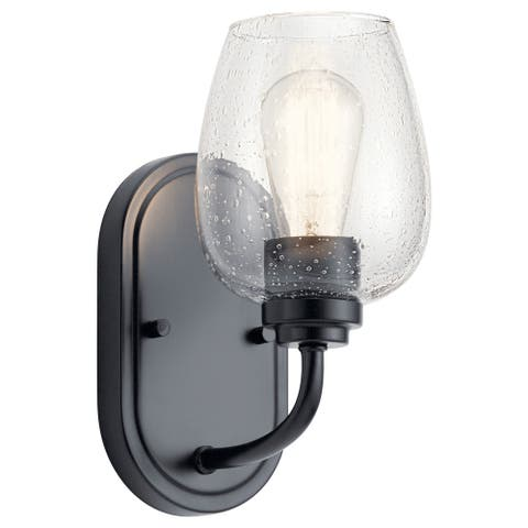 Kichler Valserrano 10 inch Wall Sconce 1 Light with Clear Seeded Glass in Black