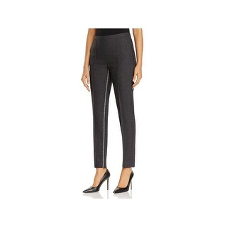 T Tahari Womens Ivana Ankle Pants Metallic Trim Skinny