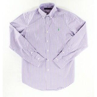 Polo Ralph Lauren NEW Purple Mens Size Medium M Check Button Down Shirt