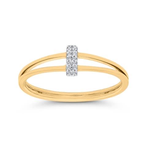 14K Yellow Gold Diamond Split Shank Ring