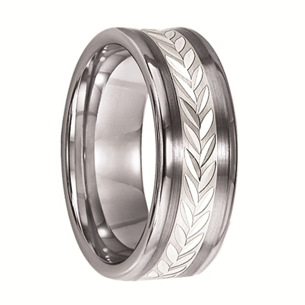 CHANNING Concave Tungsten Ring with Leaf Pattern Silver Inlay by Triton Rings - 8 mm
