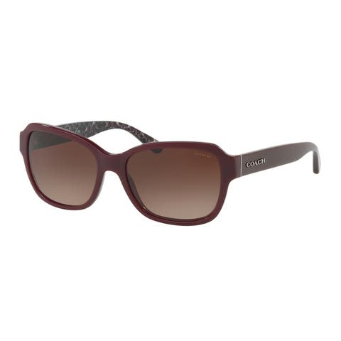 Coach Rectangle HC8232 Women OXBLOOD Frame DARK BROWN GRADIENT Lens Sunglasses