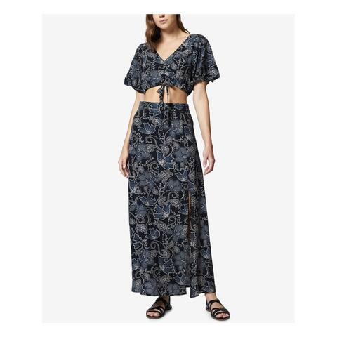 SANCTUARY Womens Black Crop Top & Maxi Skirt Set Printed Maxi Skirt Size: S