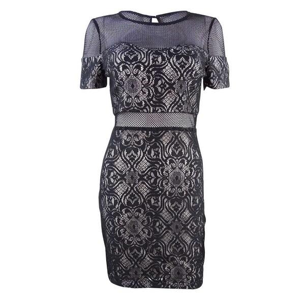 Shop Guess Womens Mesh Lace Illusion Dress Blackwhite 2 Free