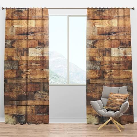 Designart 'Brown Wood Texture' Modern Blackout Curtain Panel