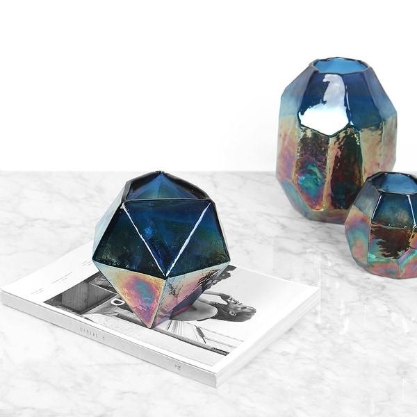 FloralGoods Blue Rainbow Color Hand Blown Irregular Shape Glass Vase