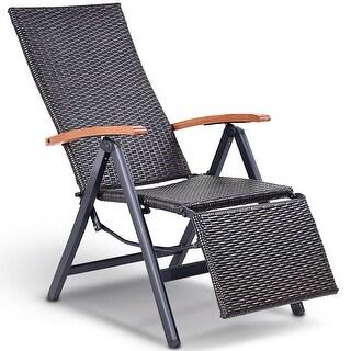 Costway Patio Folding Chair Lounger Recliner Chair Rattan Aluminum Garden Recliner Chair