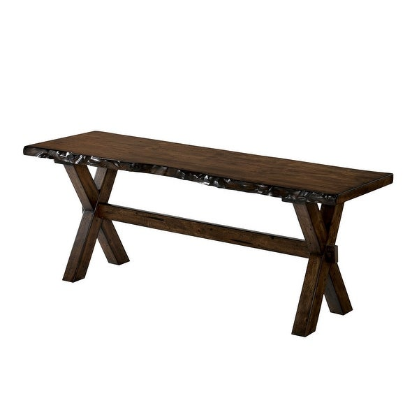 Transitional Style Solid Wood Bench with Trestle Base and Cross Legs , Brown
