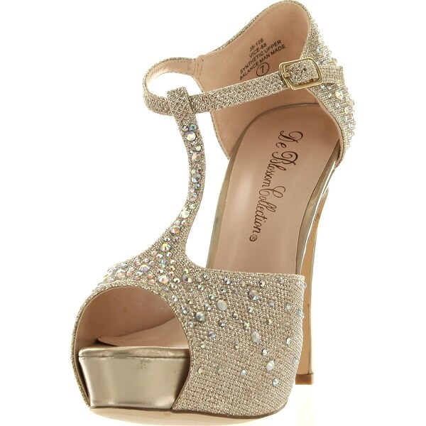 Wedding Bridesmaid T Strap Glitter Rhinestone Peep Toe Dress Sandal Vice-88 - Silver - 8 b(m) us