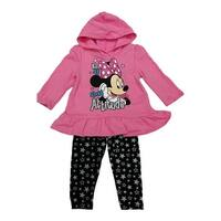 Disney Little Girls Pink Minnie Hooded Star Print 2 Pc Legging Outfit